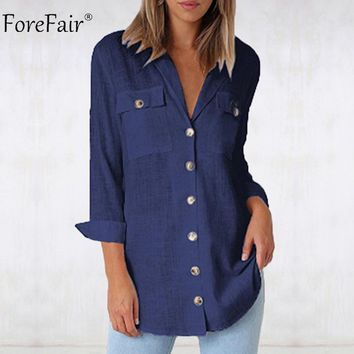ForefairCasual White Shirt Women Button Up Loose Long Sleeve Shirt Winter Women Blouses