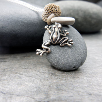 Pebble Necklace Zen Stacking Stones Natural Coral Tiny Frog MIndfulness Jewelry Nature Garden Sterling Silver Delicate Chain Present Moment