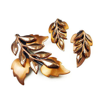 Renoir Brooch, Renoir, Earrings, Laurel Leaf, Copper, Autumn Fall, Vintage Jewelry