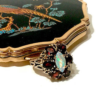 Garnet Opal Ring, Sterling Silver, Gold Overlay, Marquis Fire Opal Center Stone, 6 Oval Garnets, Raised Open Setting, Cluster Ring, Vintage
