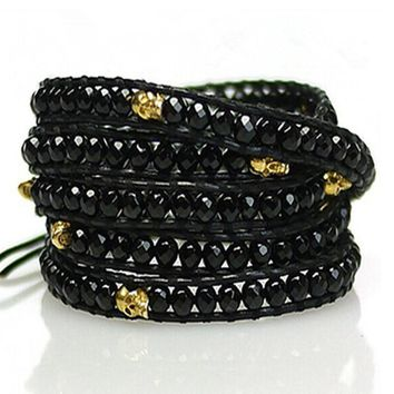 Men /women Jewelry 4mm black stone beads handmade genuine leather bracelet plating gold skull Charm Multilayer Bracelet