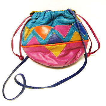 Bucket Purse - 1980s - Multi-Colored Leather