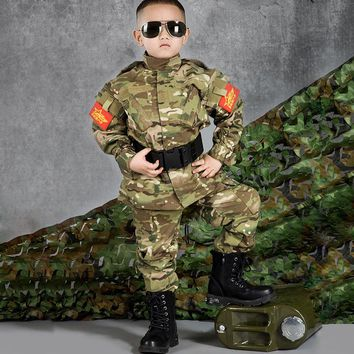 Military Uniform Kids Tactical Suits Children Camouflage Clothes Jacket+Pants Army Airsoft Paintball Clothes Boy Girl Uniform