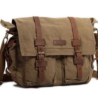 "Kattee Military Canvas Shoulder Messenger Bag Leather Straps Fit 16"" Laptop"