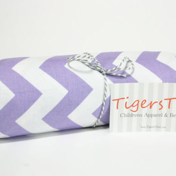 Purple Chevron Crib Sheet - Fitted or Flat
