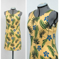 Vintage 90s Yellow Hawaiian Dress, Silk Dress, Floral Dress, Shift Dress, Tropical Luau Dress, Sleeveless Summer Dress, Knee Length Dress