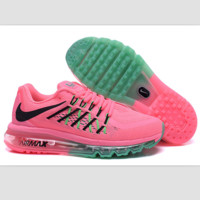 """NIKE"" Trending AirMax Behind the hook section rainbow knited line Fashion Casual Sports Shoes Pink black hook (pink green soles)"