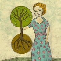 Art Print - Lady with Tree - 11 x 14 - Environmental - Nature Poster