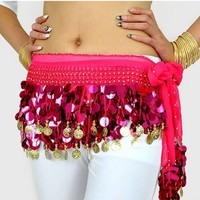 Multi-Row Paillettes Gold Coins Belly Dance Wrap & Hip Scarf, Lively Style -hot pink