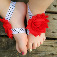 Red Flower Barefoot Sandals - Toddler Foot Jewelry - Bottomless Sandals - Retro Sandals