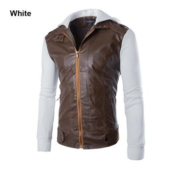 New 2015 Leather Jacket Men Leather Motorcycle Suede Slim Fit Fashion Patchwork Men Leather Jacket Coat