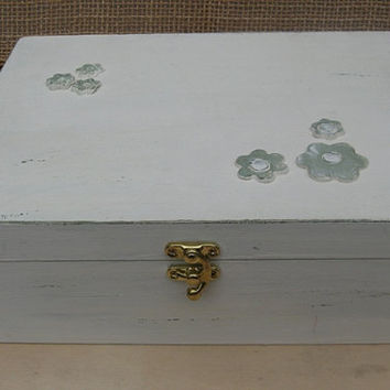 "Creamy-Dreamy ""Shabby Chic"" Wooden Jewelry Box"