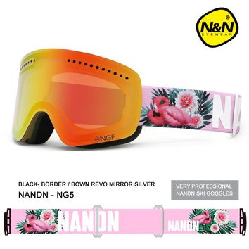 NANDN Ski goggles men and women Double layer Anti-fog Large spherical field lens Windproof Ski glasses Skiing Eyewear NG5