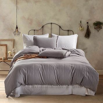 Polyester Cotton Bedding Set Home Textile Soft Bed Linings King Queen Twin Size Grey Pink White Ball Duvet Cover Pillowcases