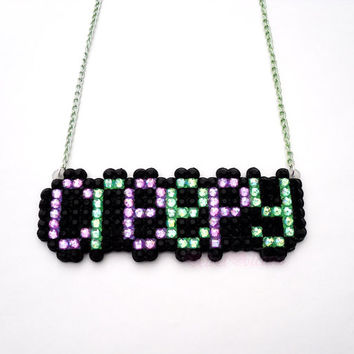 Creepy Halloween Necklace - Psychobilly Kawaii Spooky Girl Necklace - Pastel Goth Lolita - Lilac Green Black