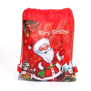 1pcs Merry Christmas Santa Claus Theme Drawstring Gifts Bags Kids Favors Baby Shower Backpack Happy Birthday Party XMAS Mochila