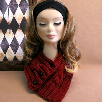 Neckwarmer, Knitted Neck Warmer, Chunky Knit, Cable Knit Scarf, Burgandy, Cowl Winter Scarf, Wool, Neck Shawl, Nchanted Gifts, Australia