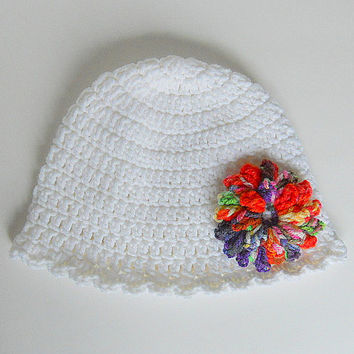 1 To 2 Year Toddler  Girl White Hat With Multi Colorful Flower And Scallop  Edge 12 To 24 Month Old Fall Cap Children Baby Winter  Beanie
