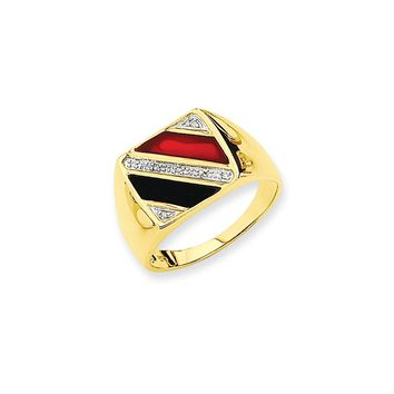 14k Yellow Gold & Rhodium Men's Onyx & Red Agate Diamond Ring
