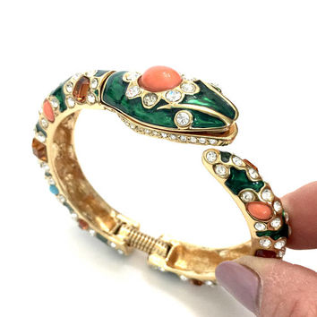 Kenneth Jay Lane Snake Hinged Bangle, Emerald Green Enamel, Turquoise Coral Jade Topaz Ice Glass Embellishments, Vintage Designer Signed