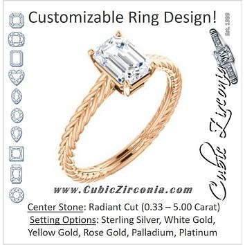Cubic Zirconia Engagement Ring- The Florence (Customizable Cathedral-set Radiant Cut Solitaire with Vintage Braided Metal Band)