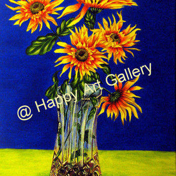 Bright Sunflowers Vase Water - Print - Original Acrylic Painting on Canvas Wall decor Free shipping