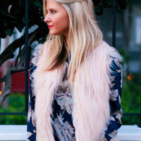 Soft Blush Ella Fur Vest