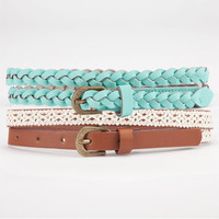 2 Piece Skinny Faux Leather Belts Mint  In Sizes