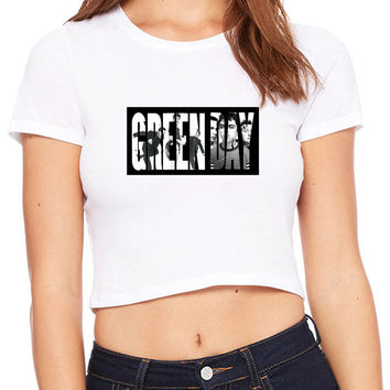Green Day Facebook Cover Title Crop T-shirt