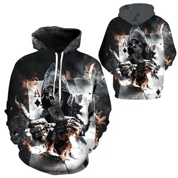 Sports Men Hoodie Autumn Winter Skateboard Unisex Hoodie Color 3D Print Skull Poker Tracksuits Zipper Male Jackets Hoodies