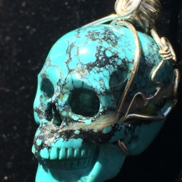 Tremendous Turquoise Realistic Carved Crystal Skull Pendant w/Silver wire wrap