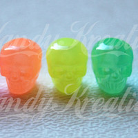 100 Colored Glow In The Dark SKULL Pony beads Kandi Rave Pink Orange Yellow Lime Green Blue for Kandi Crafts Crafting Kid Day of dead Raver