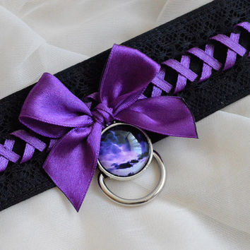 Kitten play collar - Electric storm - gothic choker - bdsm proof cosplay costume adult lolita kittenplay gear - black and violet cute sexy