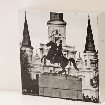 Jackson Square New Orleans Wall Panel - 8x10 Photo Standout, Ready to Hang Wall Art, Black and White NOLA Photograph, travel French Quarter