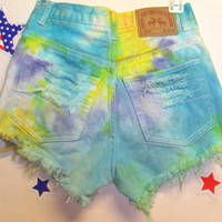 Vintage High Waisted TIE  Dyed  Denim Shorts - Studded ---Waist 26  inches -----Ready To Ship