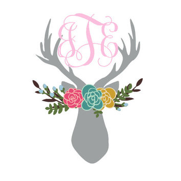 Bohemian Deer Monogram for Yeti Decal, vinyl monogram Yeti sticker, Deer floral boho, floral monogram for cups, car window, Easter Gift