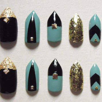 Black and Seaform Green Stiletto Fake Nails with Gold Leaf, Rhinestones, Gold studs and Beads Bling Nail Set