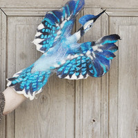 Hand puppet Blue Jay, felted bird, children's theater, nursery interactive toy, soft felted toy for creative play, eco-friendly toy, OOAK