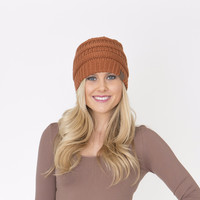 Rust Cable knitted Hat