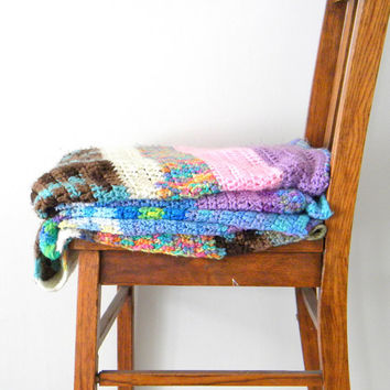 Vintage Colorful Afghan Handmade Throw Blanket, In Stripes Home Decor, Gift For MOM, Crocheted, Green Blue Pink, Brown
