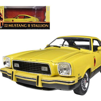 1976 Ford Mustang II Stallion Yellow - Black 1-18 Diecast Car Model by Greenlight