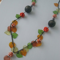 Orange leaves necklace and bracelet | Green leaves jewelry set | Colorful Autumn