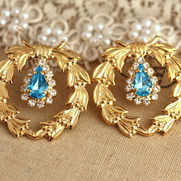 Aqua blue gold leaf bridal studs swarovski earrings rhinestone jewelry - 18k gold plated over brass rhinestone earrings, classic jewelry