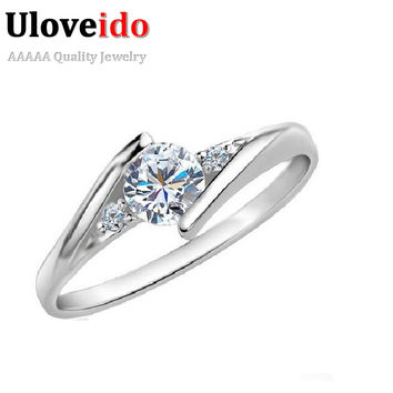 Austria Simulated Diamond Rings Wedding Love Luxury Aneis Rhinestone Jewelry Silver Plated Glowing Ring For Women Uloveido J045