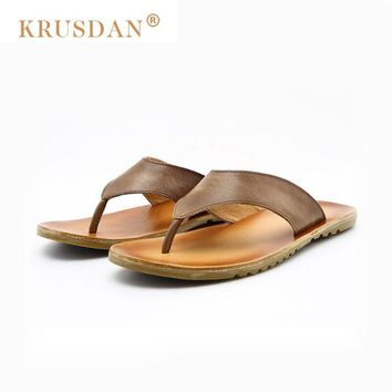 [KRUSDAN]Brand Summer Style Genuine Leather Men Sandals, Brand High Quality Retro Beach Flip Flops Men, Casual Sandals For Men