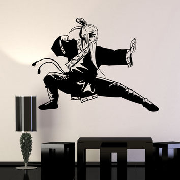 Vinyl Wall Decal Old Kung Fu Warrior Master Martial Arts Asian Stickers Mural Unique Gift (ig4971)