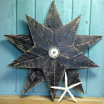 Black Wooden Star Beach House Wall Art Inside Outside by CastawaysHall - Ready to Ship