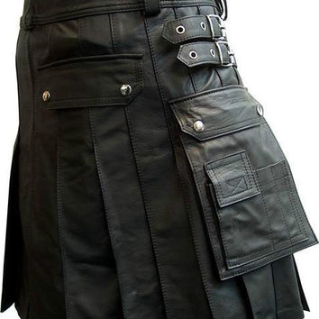 Mens Genuine Leather Gladiater Kilt Pleated Bluf Breeches Sheep kilt1