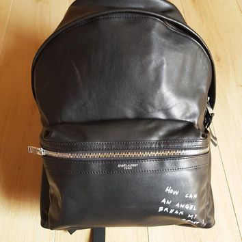 "Saint Laurent Paris Leather Backpack Yves YSL Bag ""Angel"" City leather nylon"