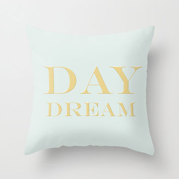 Powder Blue & Metallic Gold DayDream Typography Throw Pillow Cover Decorative Throw Pillow Inspirational Quote Minimalist Decor Powder Blue